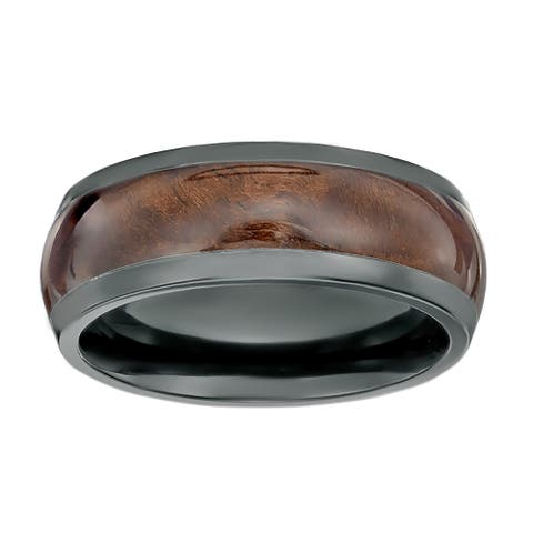 Men's Black Zirconium Wood Inlay Ring