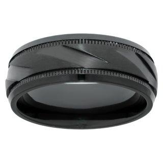 Men S Black Zirconium Ring With Diagonal Cut