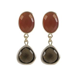 Luxiro Sterling Silver Gold Finish Carnelian Gemstone Dangle Earrings