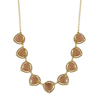 Luxiro Gold Finish Glass and Cubic Zirconia Geometric Necklace