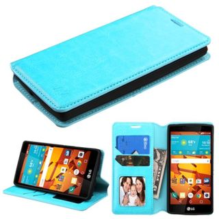 Insten Leather Fabric Phone Wallet Flap Pouch Case Cover with Stand/ Photo Display For LG Magna/ Volt 2