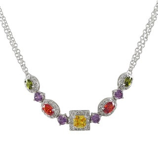 Luxiro Sterling Silver Rhodium or Gold Finish Cubic Zirconia Statement Necklace