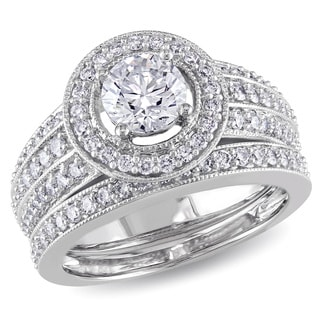 Miadora Signature Collection 14k White Gold 1 1/2ct TDW Diamond Bridal Ring Set