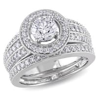Miadora Signature Collection 14k White Gold 1 1/2ct TDW Diamond Bridal Ring Set