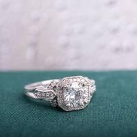 Miadora Signature Collection 14k White Gold 1 1/4ct TDW Vintage Diamond Ring