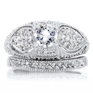 Sterling Silver CZ Antique Wedding Ring Set