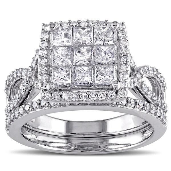 Miadora Signature Collection 10k White Gold 1 1/ 2ct TDW Diamond Bridal Ring Set