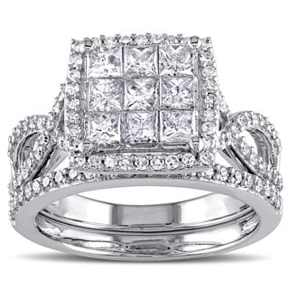 Miadora Signature Collection 10k White Gold 1 1/ 2ct TDW Diamond Bridal Ring Set