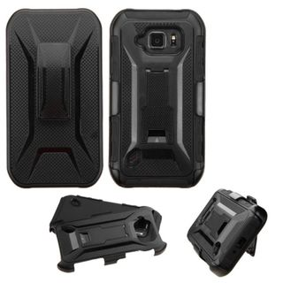 Insten Black Hard PC/ Silicone Dual Layer Hybrid Phone Case Cover with Holster For Samsung Galaxy S6 Active