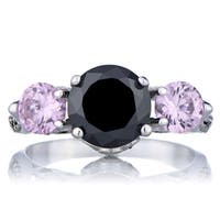 Sterling Silver Pink and Black CZ Engagement Ring