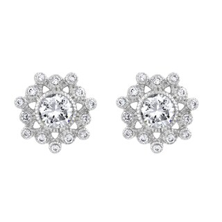 Cubic Zirconia Snowflake Stud Earrings
