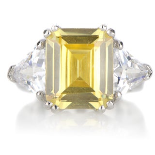 Sterling Silver Asscher Cut Citrine Cocktail Ring