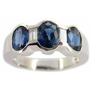 Kabella 14k White Gold Sapphire and 1/5ct TDW Diamond Band (G-H, SI2-I1) (Size 6.75)