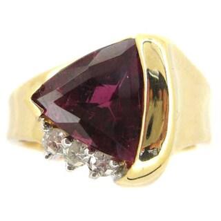 Kabella 14k Yellow Gold Pink Tourmaline and 1/6ct TDW Diamond Ring (G-H, SI2)