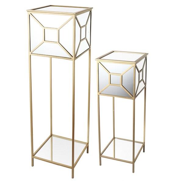 kathy ireland Mirrored Pedestals (Set of 2)