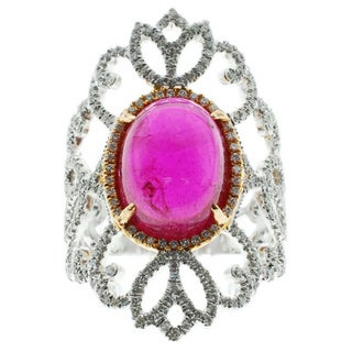 Kabella 18k White and Rose Gold Pink Tourmaline and 7/8ct TDW Diamond Filigree Ring (G-H, SI1-SI2) (Size 7.25)