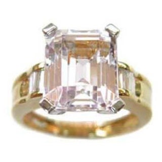 Kabella 18k Yellow Gold Emerald-cut Kunzite 1/4ct TDW Diamond Cocktail Ring (G-H, SI2-SI3) (Size 6.75)