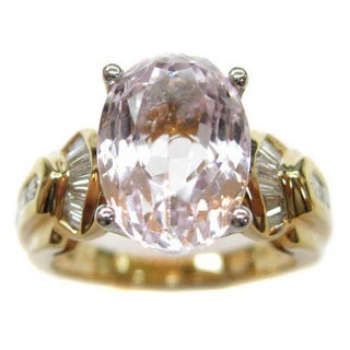 Kabella 18k Yellow Gold Oval-cut Kunzite 3/4ct TDW Diamond Cocktail Ring (G-H, SI2) (Size 6.75)