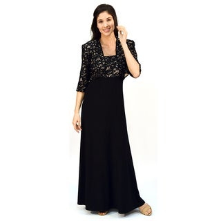 R&M Richards Sequin Lace Long Jacket Dress