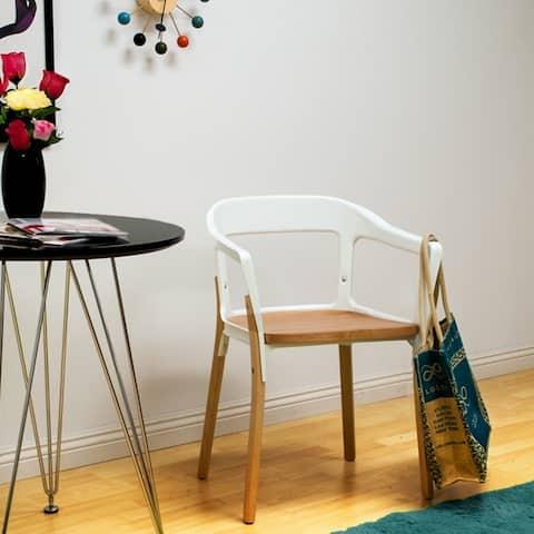 Mod Made Modern Jasper Steel Wood Dining Side Arm Chair