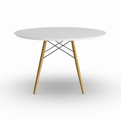 Strick & Bolton Fesca White and Wood Round Dining Table - Natural