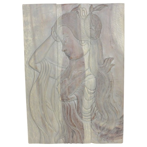 """Handmade Agate Gray Oil Wood Phuying Panel - 20"""" x 30"""" (Thailand)"""