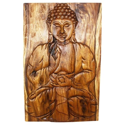 "Handmade Walnut Oil Wood Buddha Panel - 24"" x 36"" (Thailand)"