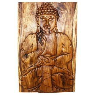Acacia Walnut Oiled Sakyamuni Seated Buddha 24 x 36-inch Wall Panel