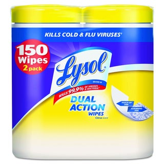 LYSOL Brand Dual Action Disinfecting WipesCitrus (2 Packs of 75 Wipes)