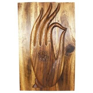 Handmade Acacia Walnut Oiled Mudra Hand 24 x 36-inch Wall Panel (Thailand)
