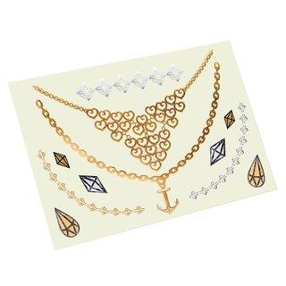 Zodaca Summer Gold Metallic Temporary Jewelry Tattoo Sticker Body Art Set