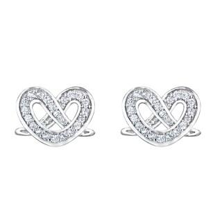 Twisted Heart Stud CZ Earrings