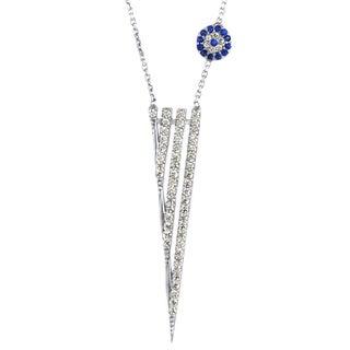 Silver CZ Dagger Evil Eye Necklace