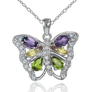 Glitzy Rocks Sterling Silver Multi Color Gemstones Butterfly Necklace