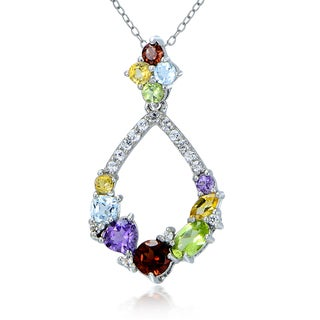 Glitzy Rocks Sterling Silver Multi Color Gemstones Teardrop Cluster Necklace