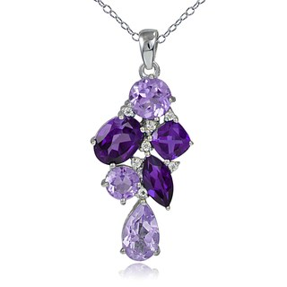 Glitzy Rocks Sterling Silver African Amethyst and White Topaz Cluster Drop Necklace - Purple