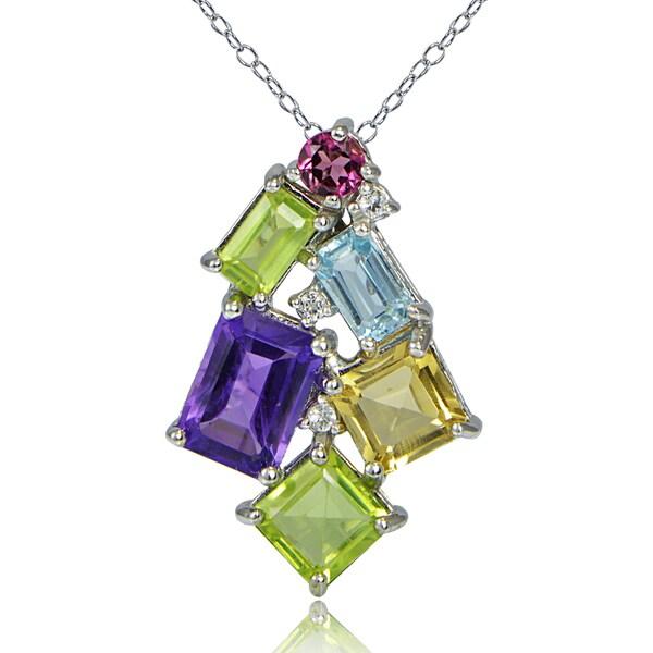 Glitzy Rocks Sterling Silver Muli Color Gemstones Octagon Cluster Necklace