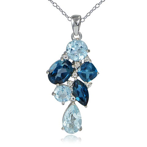 Glitzy Rocks Sterling Silver London Blue and White Topaz Cluster Drop Necklace