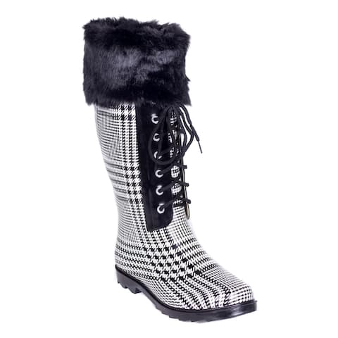 Women's Faux Fur Mock-Sock Laces Rain Boots