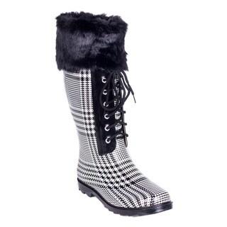 Women's Faux Fur Mock-Sock Laces Rain Boots