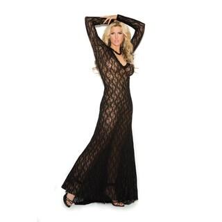Elegant Moments women's plus size long sleeve lace V-neck gown