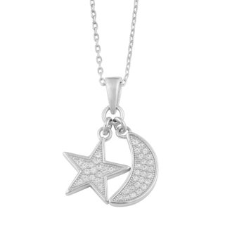 Fremada Rhodium Plated Sterling Silver Moon and Star Charm Bracelet