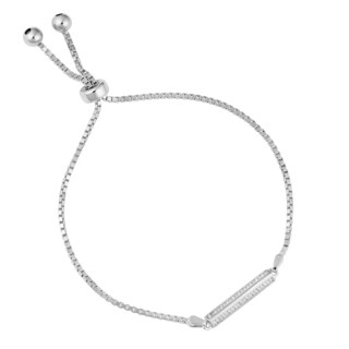 Fremada Rhodium Plated Sterling Silver with Cubic Zirconia Triangular Bar Adjustable Slide Bracelet