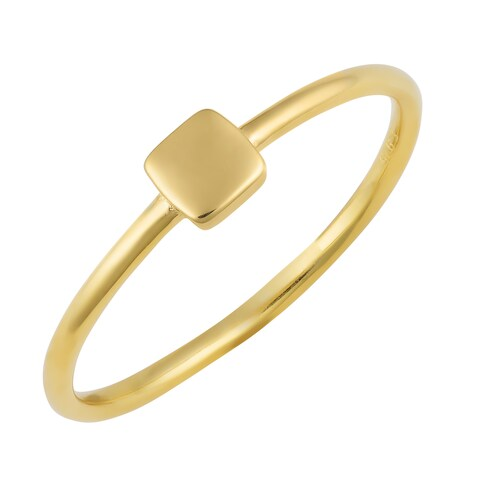 Fremada 14k Yellow Gold Over Sterling Silver Mini Square Ring