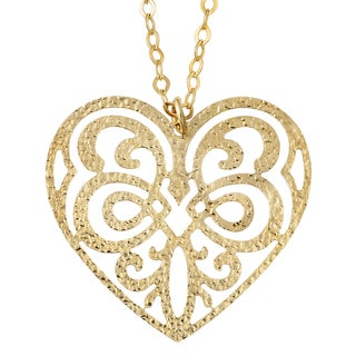 Fremada 18k Yellow Gold Over Sterling Silver Heart With Swirl Design Necklace (18 inch)
