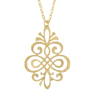 Fremada 18k Yellow Gold Over Sterling Silver Floral Swirl Design Necklace (18 inch)