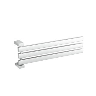 Cortesi Home Contemporary Stainless Steel Adjustable 3 Swing Arm Towel Rack, Chrome - Silver