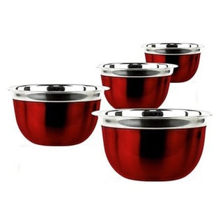 Prime Pacific 4-piece Red Stainless Steel Euro Style Bowl Set