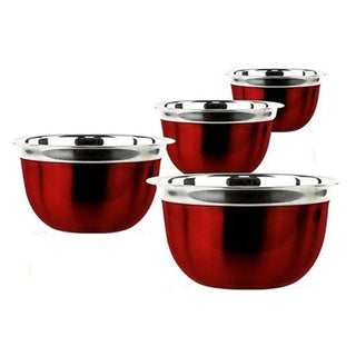 Link to Prime Pacific 4-piece Red Stainless Steel Euro Style Bowl Set Similar Items in Serveware