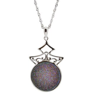 Sterling Silver Round Druzy Necklace with 18-inch Singapore Chain (China)